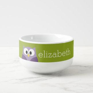 Cute Cartoon Owl Purple and Pistachio Custom Name Soup Mug