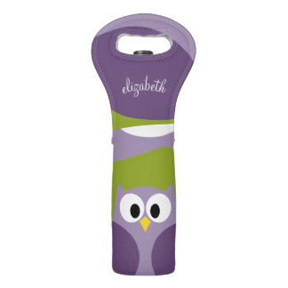 Cute Cartoon Owl Purple and Pistachio Custom Name Wine Bag