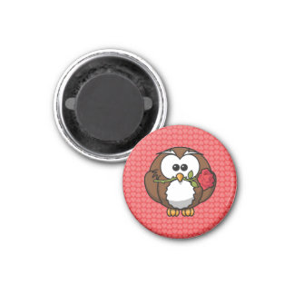Cute Cartoon Owl With Rose and Hearts Refrigerator Magnet