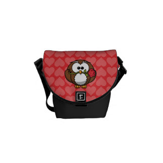 Cute Cartoon Owl With Rose and Hearts Courier Bag