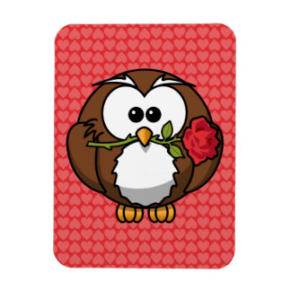 Cute Cartoon Owl With Rose and Hearts Vinyl Magnet