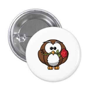 Cute Cartoon Owl With Rose Pinback Button