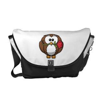 Cute Cartoon Owl With Rose Messenger Bags