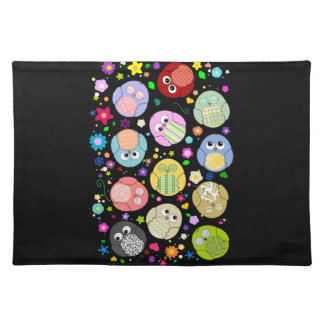 Cute Cartoon Owls and Flowers Design Placemat