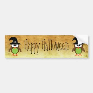 Cute Cartoon Owls Happy Halloween Gold Bumper Sticker