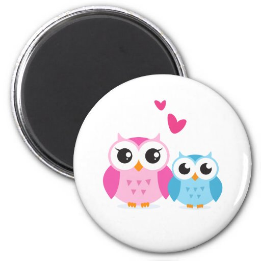 Cute cartoon owls with hearts magnets