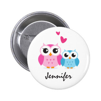 Cute cartoon owls with hearts personalised name 6 cm round badge