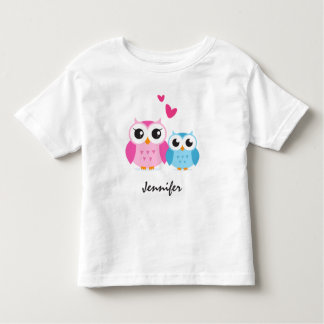 Cute cartoon owls with hearts personalised name tshirt