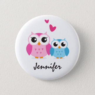 Cute cartoon owls with hearts personalized name 6 cm round badge
