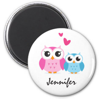 Cute cartoon owls with hearts personalized name 6 cm round magnet