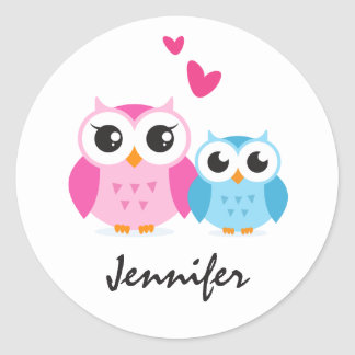 Cute cartoon owls with hearts personalized name classic round sticker