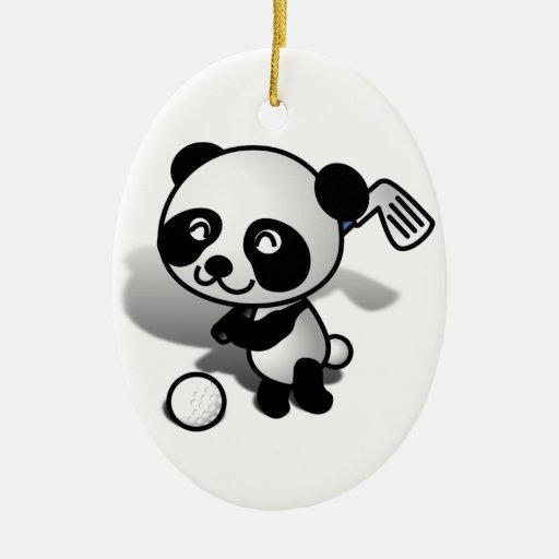 Cute Cartoon Panda Bear Golfing Christmas Ornament