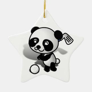 Cute Cartoon Panda Bear Golfing Ceramic Star Decoration