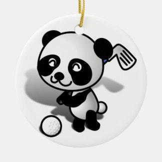 Cute Cartoon Panda Bear Golfing Round Ceramic Decoration