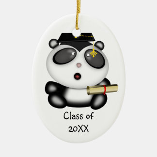 Cute Cartoon Panda Bear Graduate with Mortar Board Christmas Ornament