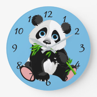 Cute Cartoon Panda Bear Large Clock