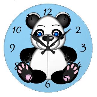 Cute Cartoon Panda Bear Large Clock