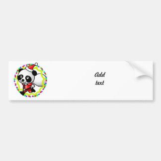 Cute Cartoon Panda Bear Santa Car Bumper Sticker