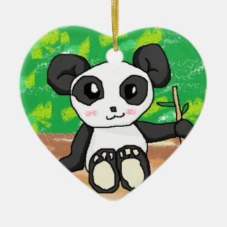 cute cartoon panda ceramic heart decoration