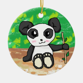 cute cartoon panda round ceramic decoration