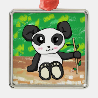 cute cartoon panda Silver-Colored square decoration