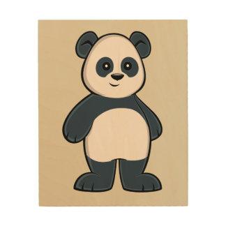 Cute Cartoon Panda Wood Wall Art Wood Prints