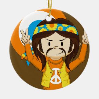 Cute Cartoon Peace Hippie Christmas Ornament