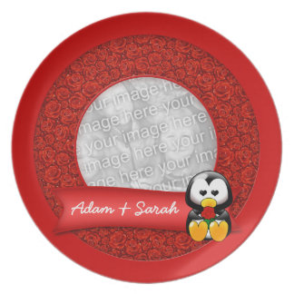 Cute Cartoon Penguin and Red Roses Photo Plate