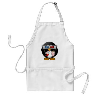 Cute Cartoon Penguin at the Movies Adult Apron