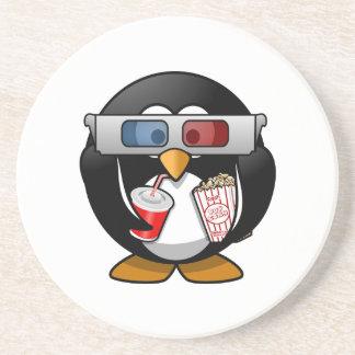Cute Cartoon Penguin at the Movies Coaster