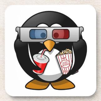 Cute Cartoon Penguin at the Movies Beverage Coaster