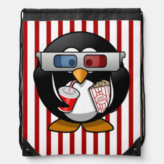 Cute Cartoon Penguin at the Movies With Stripes Drawstring Backpacks