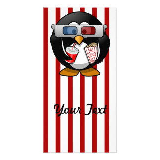 Cute Cartoon Penguin at the Movies With Stripes Photo Card Template