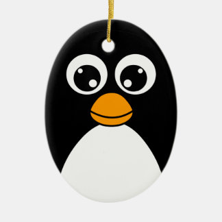 Cute Cartoon Penguin Black and White Christmas Ornament