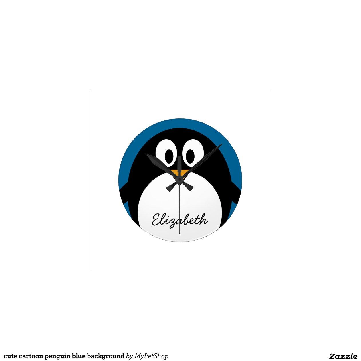 cute cartoon penguin blue background | Zazzle