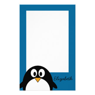 cute cartoon penguin blue background customized stationery