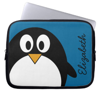 cute cartoon penguin blue background laptop sleeve
