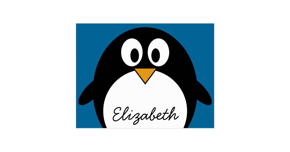 cute cartoon penguin blue background postcard | Zazzle