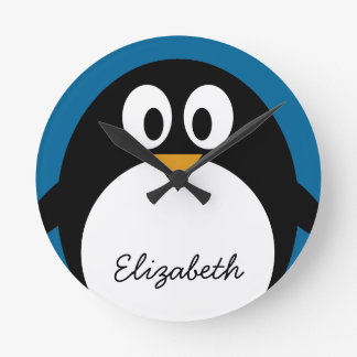cute cartoon penguin blue background round clock