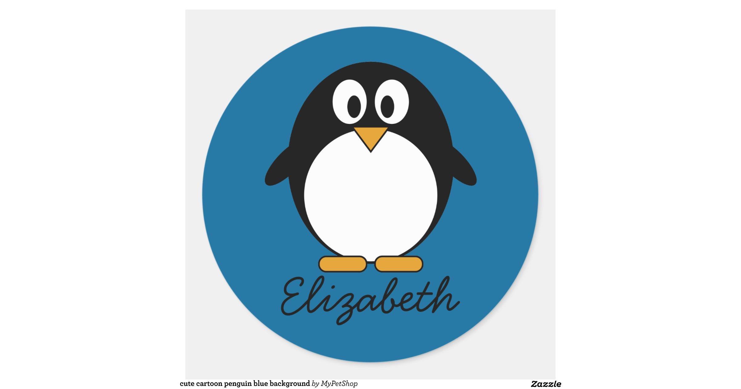 cute cartoon penguin blue background round sticker | Zazzle