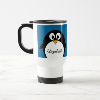 cute cartoon penguin blue background travel mug