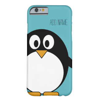 Cute Cartoon Penguin Custom Name Blue Barely There iPhone 6 Case