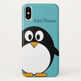 Cute Cartoon Penguin Custom Name Blue iPhone X Case