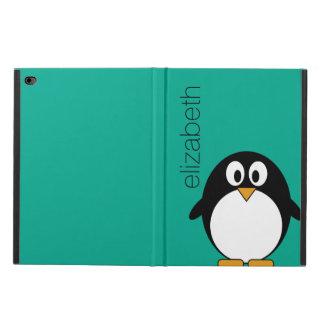 Cute Cartoon Penguin Custom Name Emerald