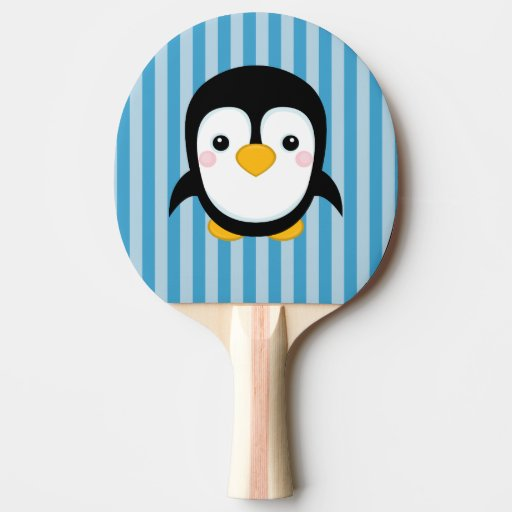 Cute Cartoon Penguin Design Blue Stripes Pattern Ping Pong Paddle