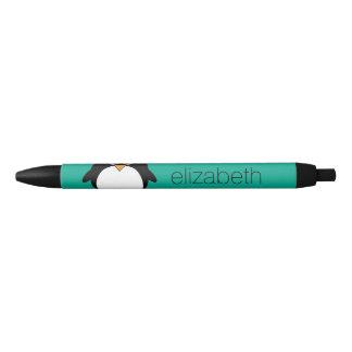 cute cartoon penguin emerald and black black ink pen