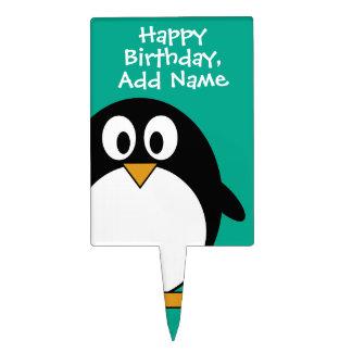 cute cartoon penguin emerald and black cake topper