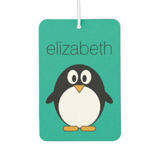 cute cartoon penguin emerald and black car air freshener