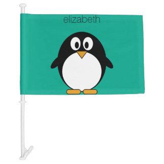 cute cartoon penguin emerald and black car flag
