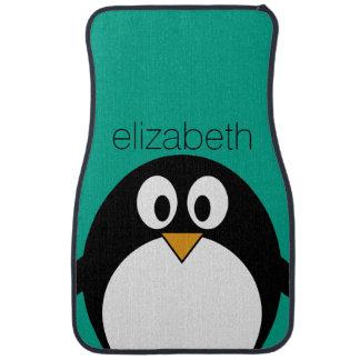 cute cartoon penguin emerald and black car mat